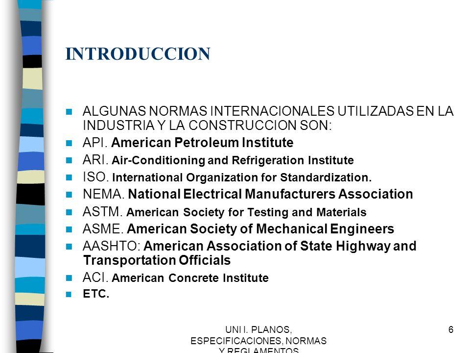 UNI I.PLANOS, ESPECIFICACIONES, NORMAS Y REGLAMENTOS 37 IMSS.