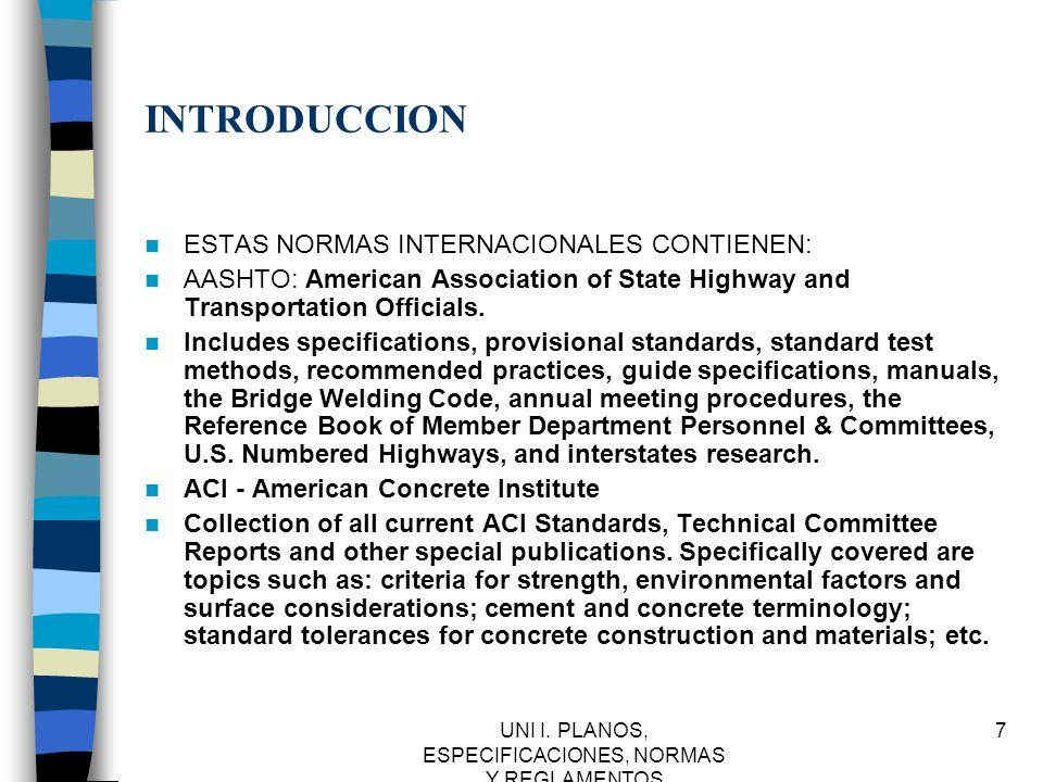 UNI I.PLANOS, ESPECIFICACIONES, NORMAS Y REGLAMENTOS 38 IMSS.