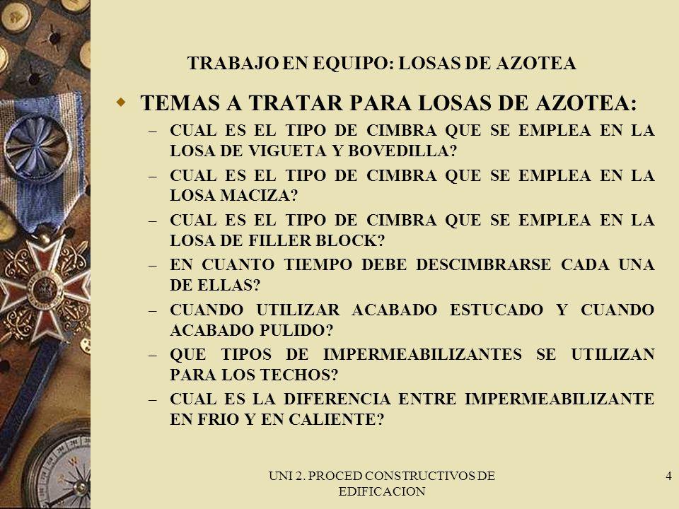 UNI 2. PROCED CONSTRUCTIVOS DE EDIFICACION 4 TRABAJO EN EQUIPO: LOSAS DE AZOTEA TEMAS A TRATAR PARA LOSAS DE AZOTEA: – CUAL ES EL TIPO DE CIMBRA QUE S