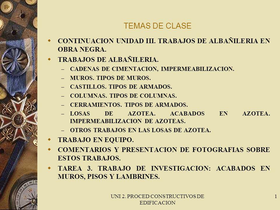 UNI 2.PROCED CONSTRUCTIVOS DE EDIFICACION 2 TRABAJO EN EQUIPO.