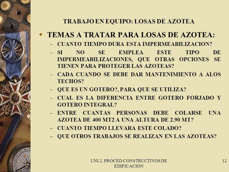 UNI 2. PROCED CONSTRUCTIVOS DE EDIFICACION 12 TRABAJO EN EQUIPO: LOSAS DE AZOTEA TEMAS A TRATAR PARA LOSAS DE AZOTEA: – CUANTO TIEMPO DURA ESTA IMPERM
