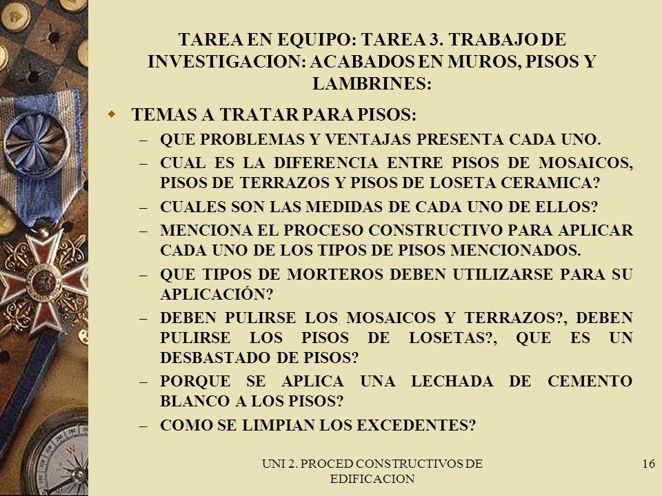 UNI 2. PROCED CONSTRUCTIVOS DE EDIFICACION 16 TAREA EN EQUIPO: TAREA 3. TRABAJO DE INVESTIGACION: ACABADOS EN MUROS, PISOS Y LAMBRINES: TEMAS A TRATAR