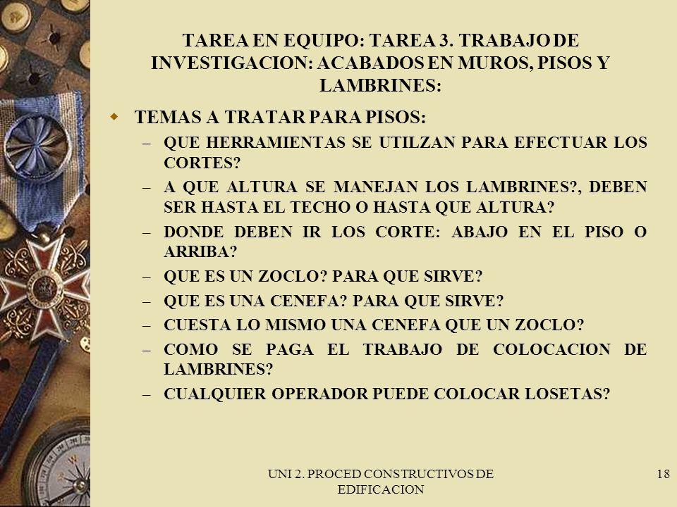 UNI 2. PROCED CONSTRUCTIVOS DE EDIFICACION 18 TAREA EN EQUIPO: TAREA 3. TRABAJO DE INVESTIGACION: ACABADOS EN MUROS, PISOS Y LAMBRINES: TEMAS A TRATAR