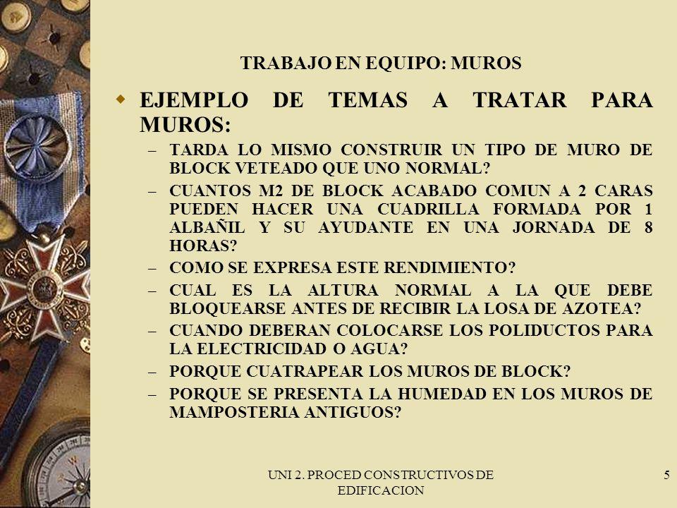 UNI 2. PROCED CONSTRUCTIVOS DE EDIFICACION 5 TRABAJO EN EQUIPO: MUROS EJEMPLO DE TEMAS A TRATAR PARA MUROS: – TARDA LO MISMO CONSTRUIR UN TIPO DE MURO