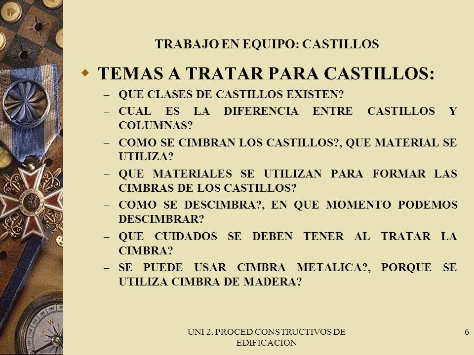 UNI 2. PROCED CONSTRUCTIVOS DE EDIFICACION 6 TRABAJO EN EQUIPO: CASTILLOS TEMAS A TRATAR PARA CASTILLOS: – QUE CLASES DE CASTILLOS EXISTEN? – CUAL ES