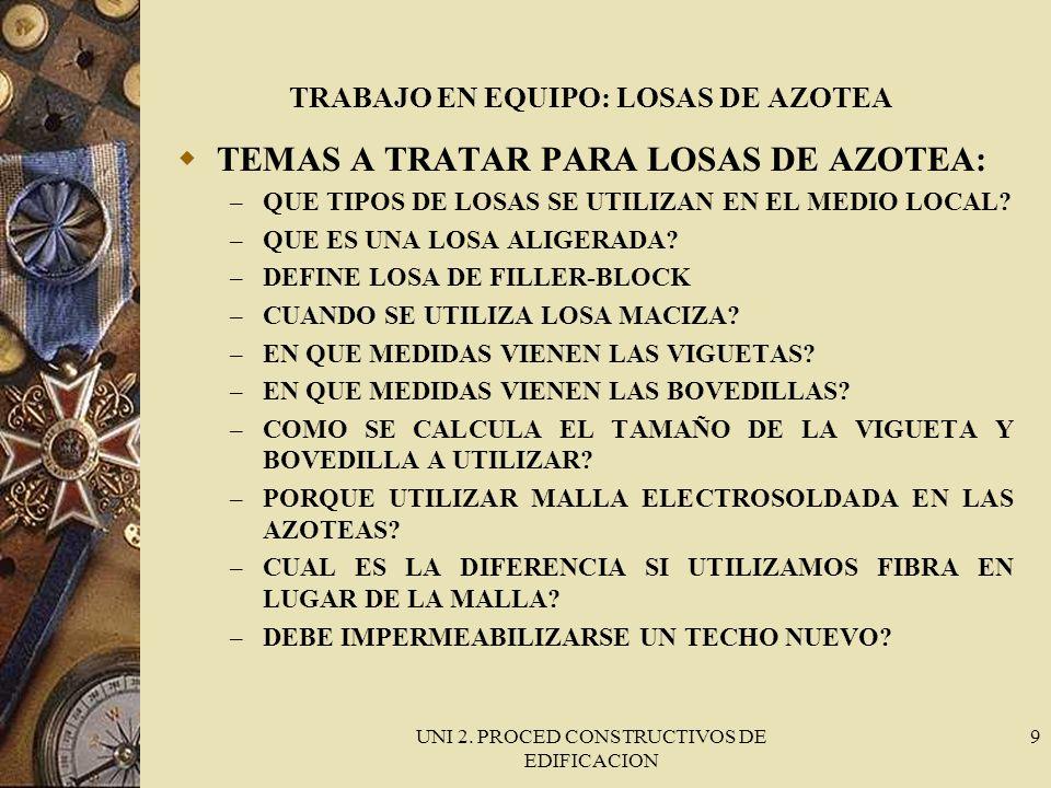 UNI 2. PROCED CONSTRUCTIVOS DE EDIFICACION 9 TRABAJO EN EQUIPO: LOSAS DE AZOTEA TEMAS A TRATAR PARA LOSAS DE AZOTEA: – QUE TIPOS DE LOSAS SE UTILIZAN
