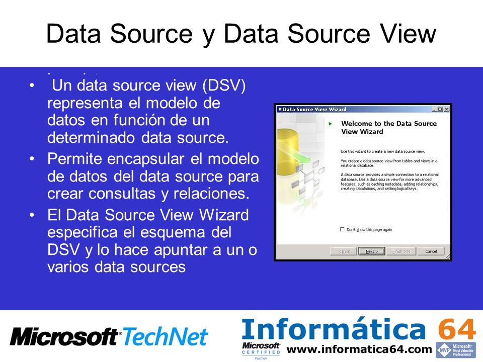 Data Source y Data Source View Los data source contienen las tablas de hecho y dimensión incluidas en el cubo Encapsula las cadenas de conexión y usa