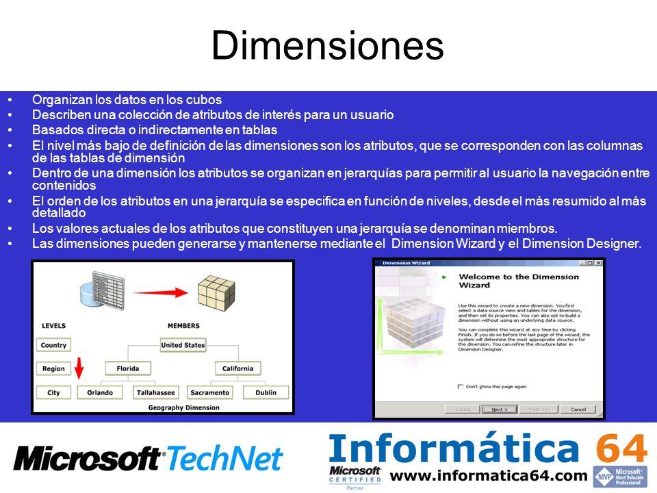 Dimensiones Organizan los datos en los cubos Describen una colección de atributos de interés para un usuario Basados directa o indirectamente en tabla