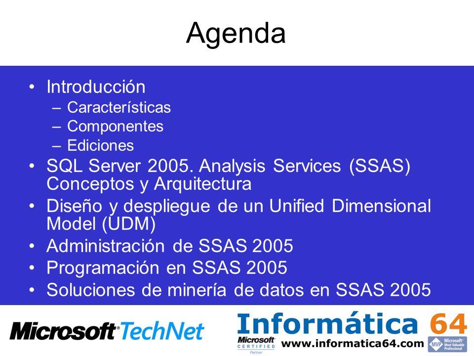Agenda Introducción –Características –Componentes –Ediciones SQL Server 2005. Analysis Services (SSAS) Conceptos y Arquitectura Diseño y despliegue de