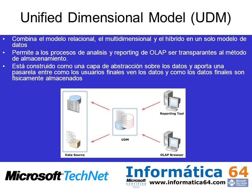 Unified Dimensional Model (UDM) Combina el modelo relacional, el multidimensional y el híbrido en un solo modelo de datos Permite a los procesos de an