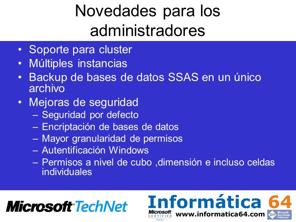 Novedades para los administradores Soporte para cluster Múltiples instancias Backup de bases de datos SSAS en un único archivo Mejoras de seguridad –S