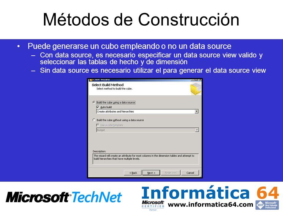 Métodos de Construcción Puede generarse un cubo empleando o no un data source –Con data source, es necesario especificar un data source view valido y