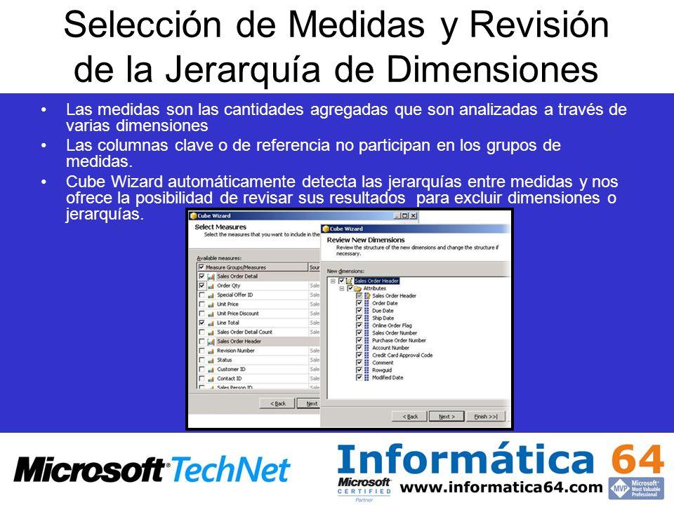 Selección de Medidas y Revisión de la Jerarquía de Dimensiones Las medidas son las cantidades agregadas que son analizadas a través de varias dimensio