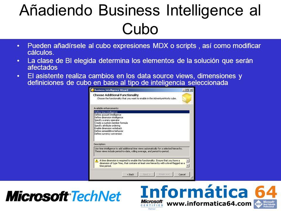 Añadiendo Business Intelligence al Cubo Pueden añadírsele al cubo expresiones MDX o scripts, así como modificar cálculos. La clase de BI elegida deter
