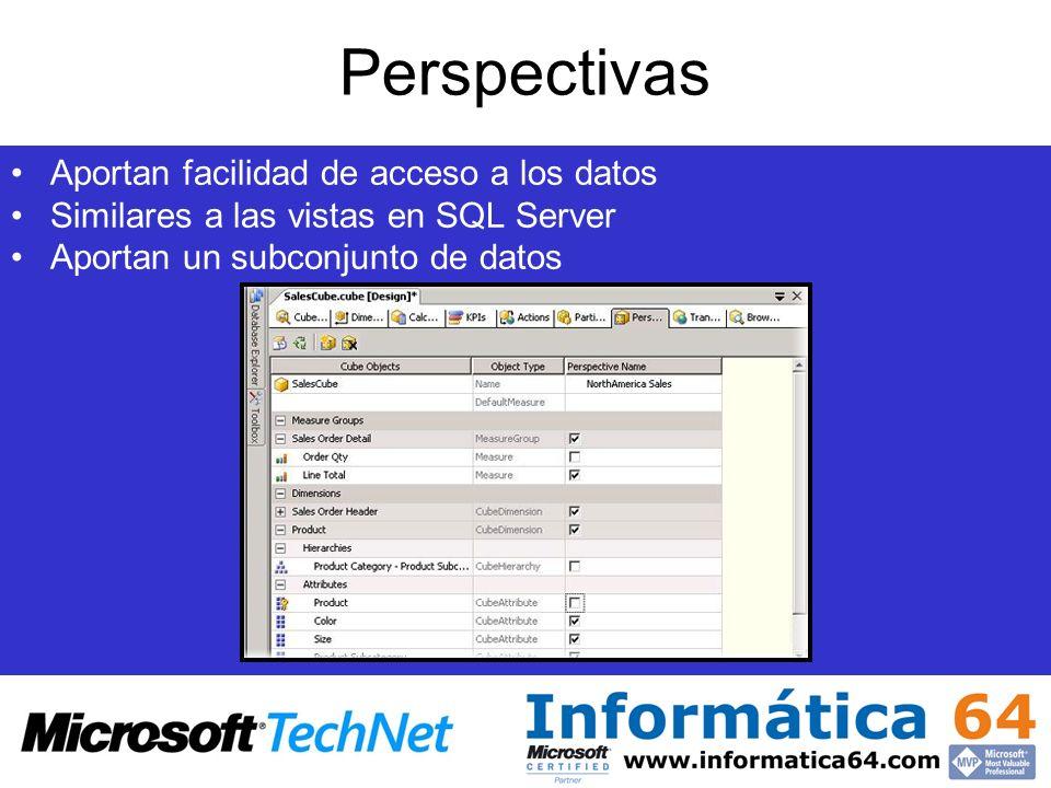Perspectivas Aportan facilidad de acceso a los datos Similares a las vistas en SQL Server Aportan un subconjunto de datos