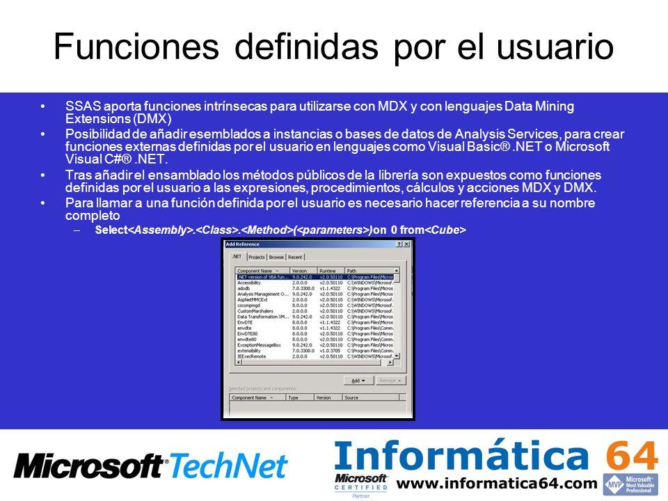 Funciones definidas por el usuario SSAS aporta funciones intrínsecas para utilizarse con MDX y con lenguajes Data Mining Extensions (DMX) Posibilidad