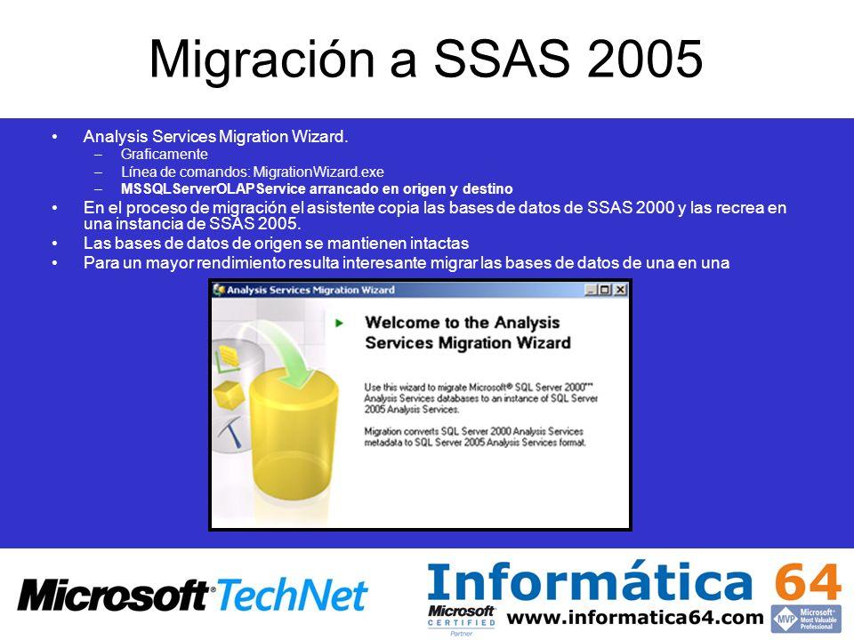 Migración a SSAS 2005 Analysis Services Migration Wizard. –Graficamente –Línea de comandos: MigrationWizard.exe –MSSQLServerOLAPService arrancado en o