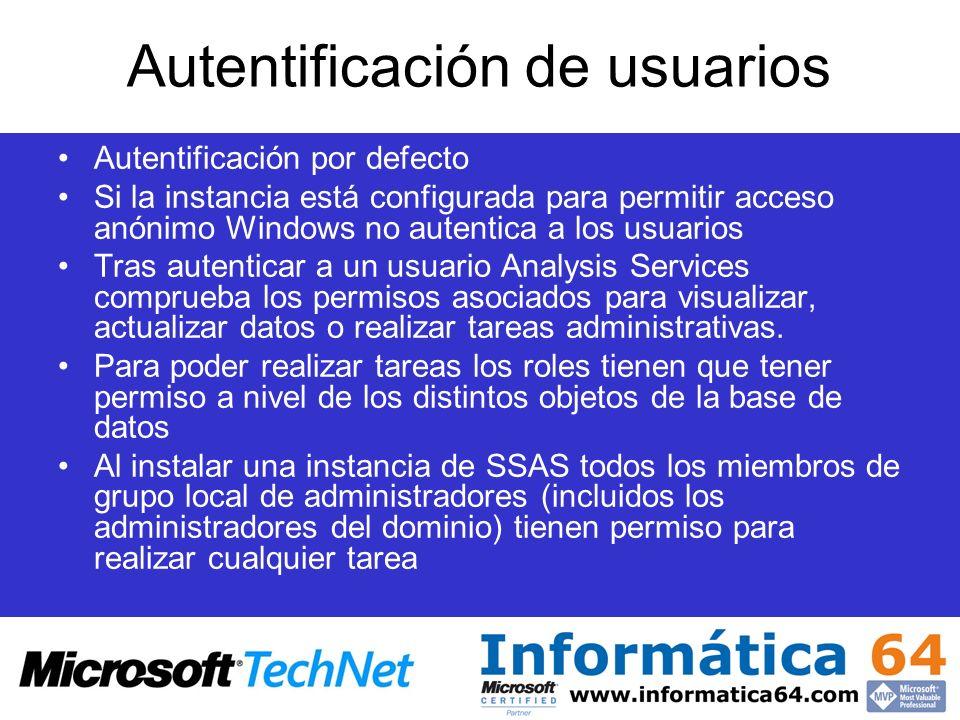 Autentificación de usuarios Autentificación por defecto Si la instancia está configurada para permitir acceso anónimo Windows no autentica a los usuar