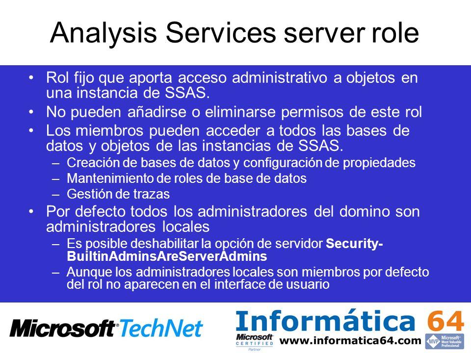 Analysis Services server role Rol fijo que aporta acceso administrativo a objetos en una instancia de SSAS. No pueden añadirse o eliminarse permisos d