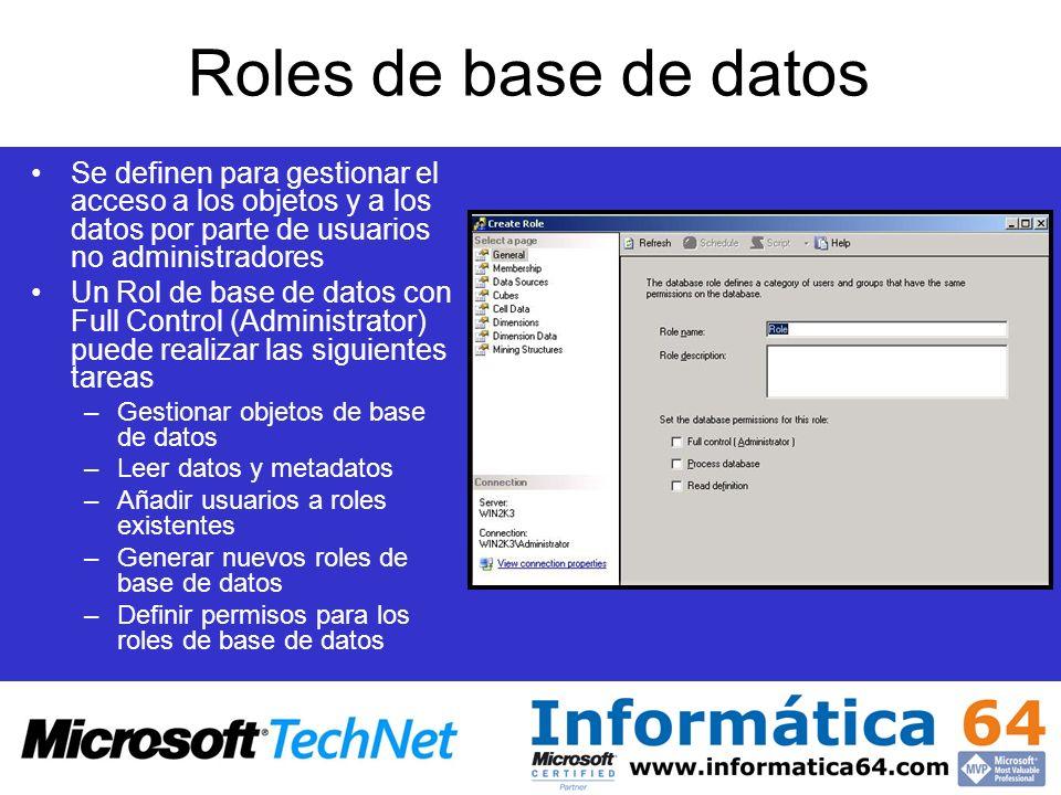Roles de base de datos Se definen para gestionar el acceso a los objetos y a los datos por parte de usuarios no administradores Un Rol de base de dato