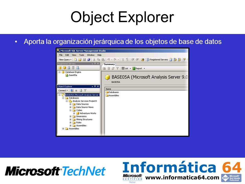 Object Explorer Aporta la organización jerárquica de los objetos de base de datos