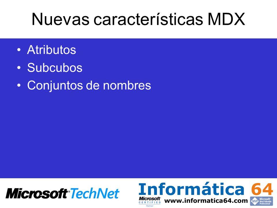 Nuevas características MDX Atributos Subcubos Conjuntos de nombres
