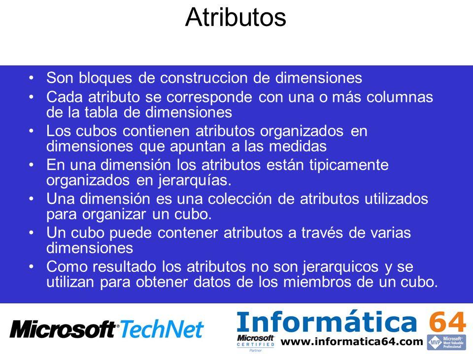 Atributos Son bloques de construccion de dimensiones Cada atributo se corresponde con una o más columnas de la tabla de dimensiones Los cubos contiene
