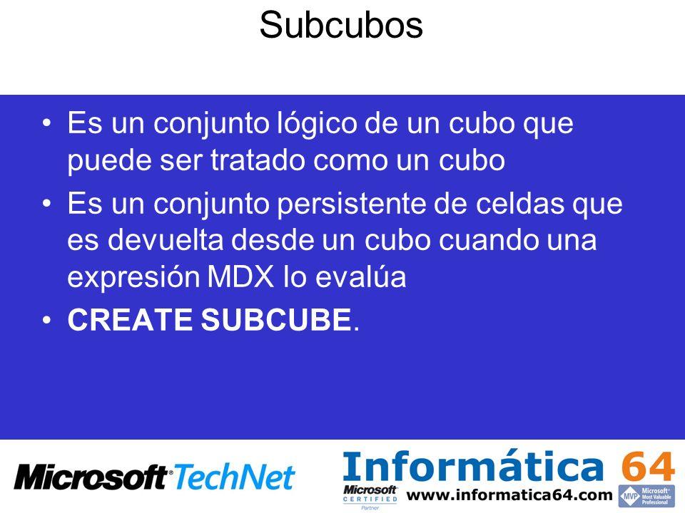 Subcubos Es un conjunto lógico de un cubo que puede ser tratado como un cubo Es un conjunto persistente de celdas que es devuelta desde un cubo cuando