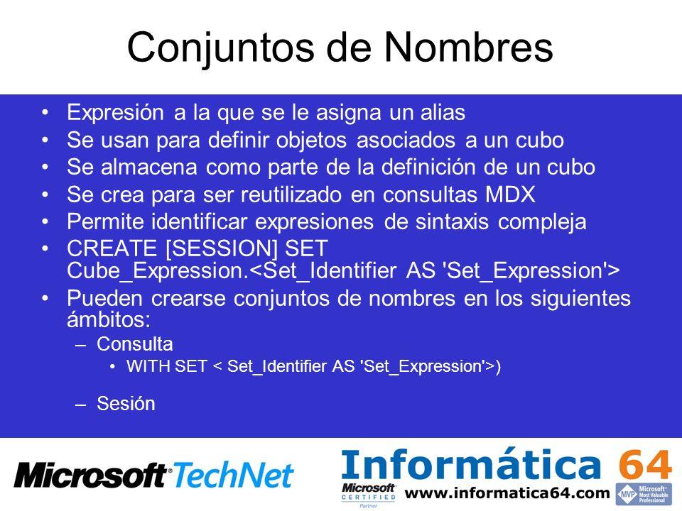 Conjuntos de Nombres Expresión a la que se le asigna un alias Se usan para definir objetos asociados a un cubo Se almacena como parte de la definición