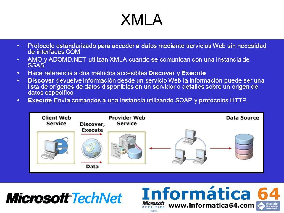 XMLA Protocolo estandarizado para acceder a datos mediante servicios Web sin necesidad de interfaces COM AMO y ADOMD.NET utilizan XMLA cuando se comun