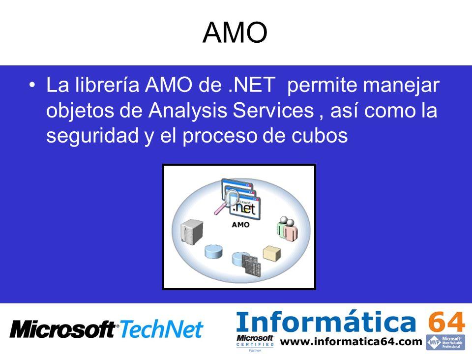 AMO La librería AMO de.NET permite manejar objetos de Analysis Services, así como la seguridad y el proceso de cubos