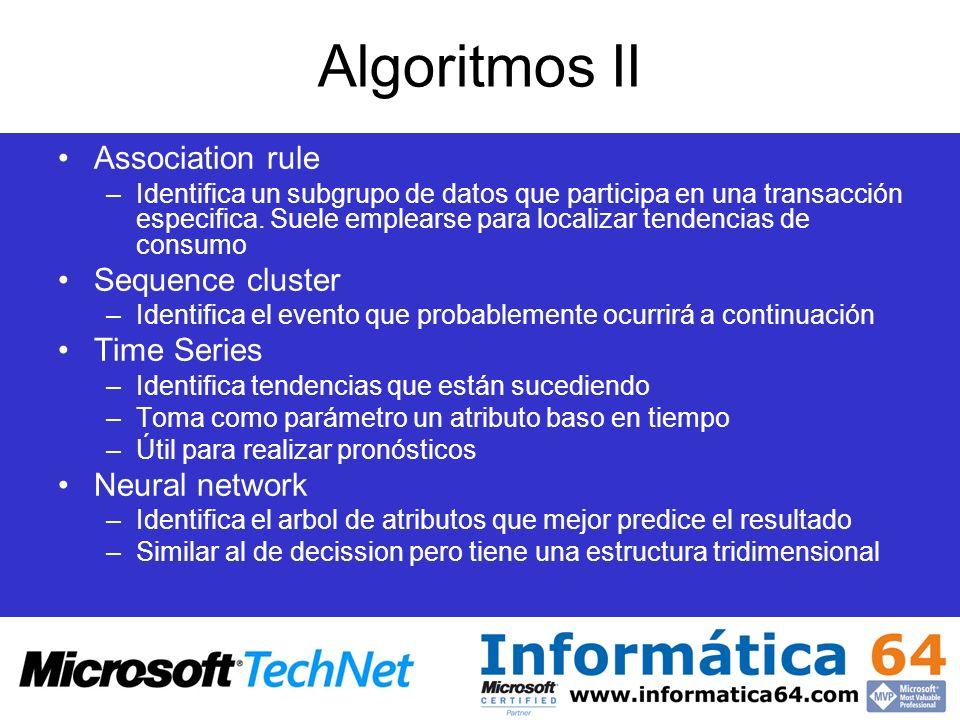 Algoritmos II Association rule –Identifica un subgrupo de datos que participa en una transacción especifica. Suele emplearse para localizar tendencias