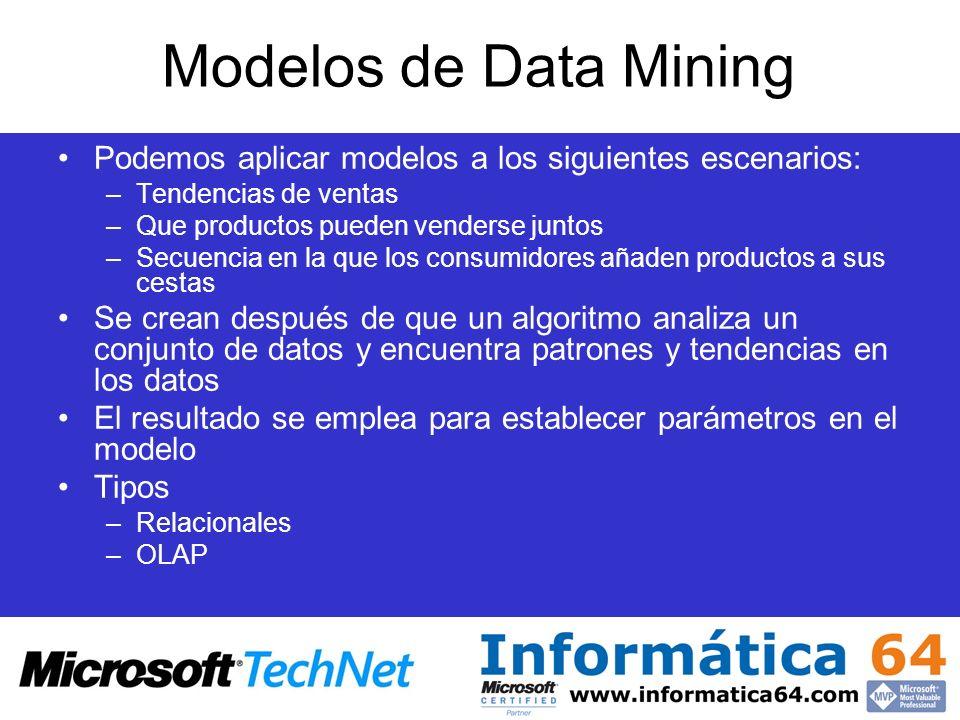 Modelos de Data Mining Podemos aplicar modelos a los siguientes escenarios: –Tendencias de ventas –Que productos pueden venderse juntos –Secuencia en