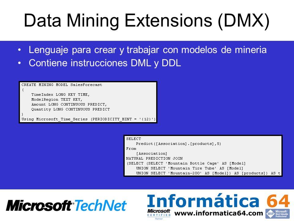 Data Mining Extensions (DMX) Lenguaje para crear y trabajar con modelos de mineria Contiene instrucciones DML y DDL
