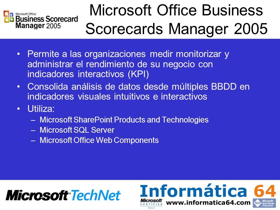 Microsoft Office Business Scorecards Manager 2005 Permite a las organizaciones medir monitorizar y administrar el rendimiento de su negocio con indica
