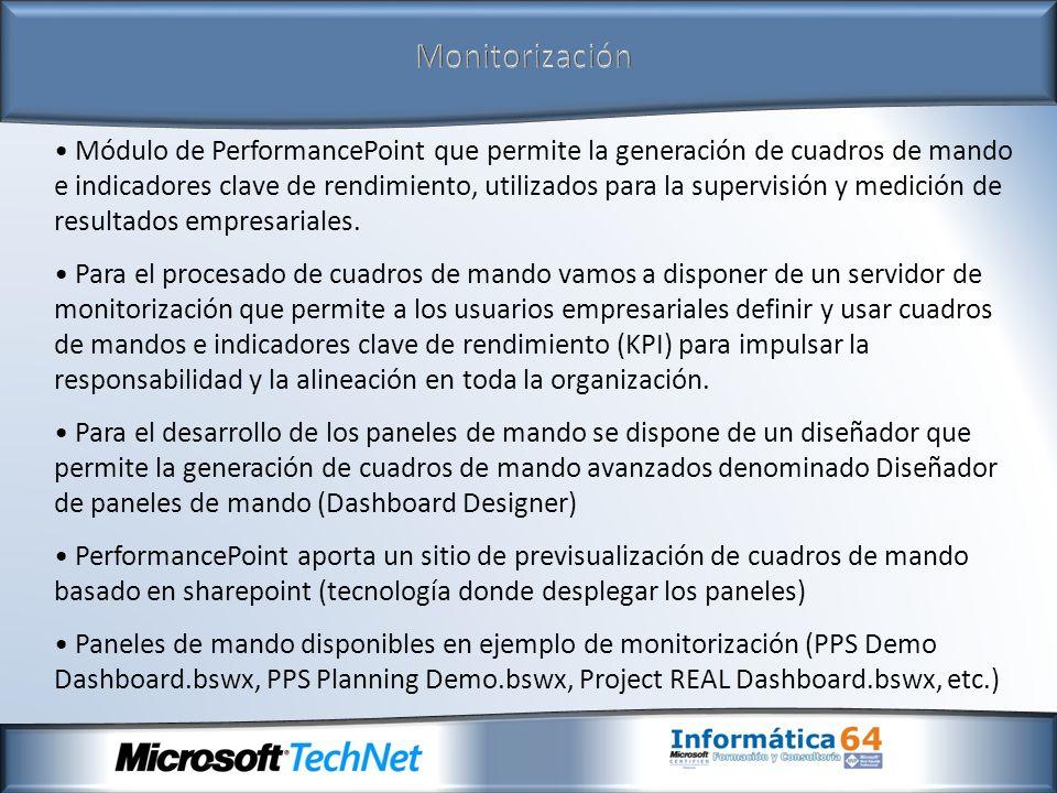 Monitorización Módulo de PerformancePoint que permite la generación de cuadros de mando e indicadores clave de rendimiento, utilizados para la supervi