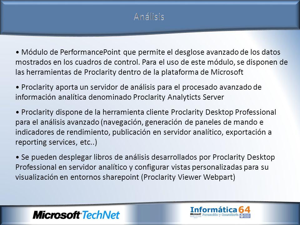 Análisis Módulo de PerformancePoint que permite el desglose avanzado de los datos mostrados en los cuadros de control. Para el uso de este módulo, se