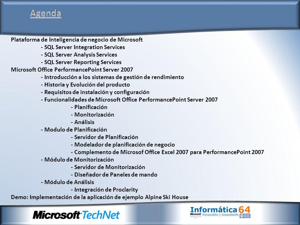 Agenda Plataforma de Inteligencia de negocio de Microsoft - SQL Server Integration Services - SQL Server Analysis Services - SQL Server Reporting Serv