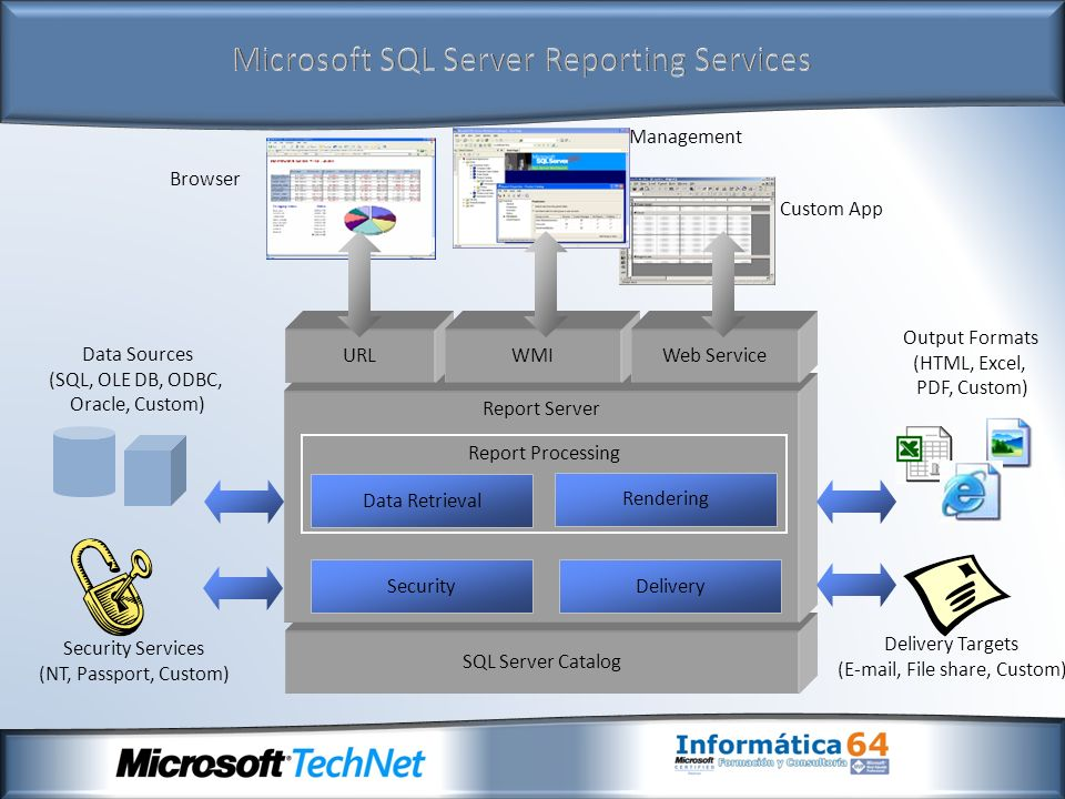 SQL Server Catalog Report Server Delivery Delivery Targets (E-mail, File share, Custom) Security Services (NT, Passport, Custom) Security Data Sources