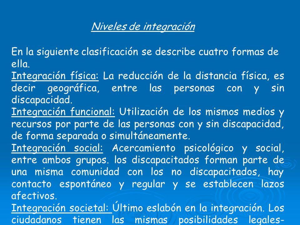 Niveles de integración En la siguiente clasificación se describe cuatro formas de ella. Integración física: La reducción de la distancia física, es de