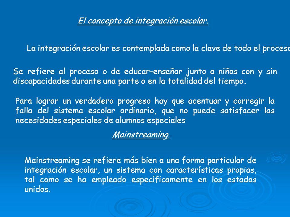 El concepto de integración escolar. La integración escolar es contemplada como la clave de todo el proceso. Se refiere al proceso o de educar-enseñar