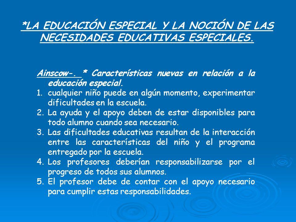 *LA EDUCACIÓN ESPECIAL Y LA NOCIÓN DE LAS NECESIDADES EDUCATIVAS ESPECIALES. Ainscow-. * Características nuevas en relación a la educación especial. 1