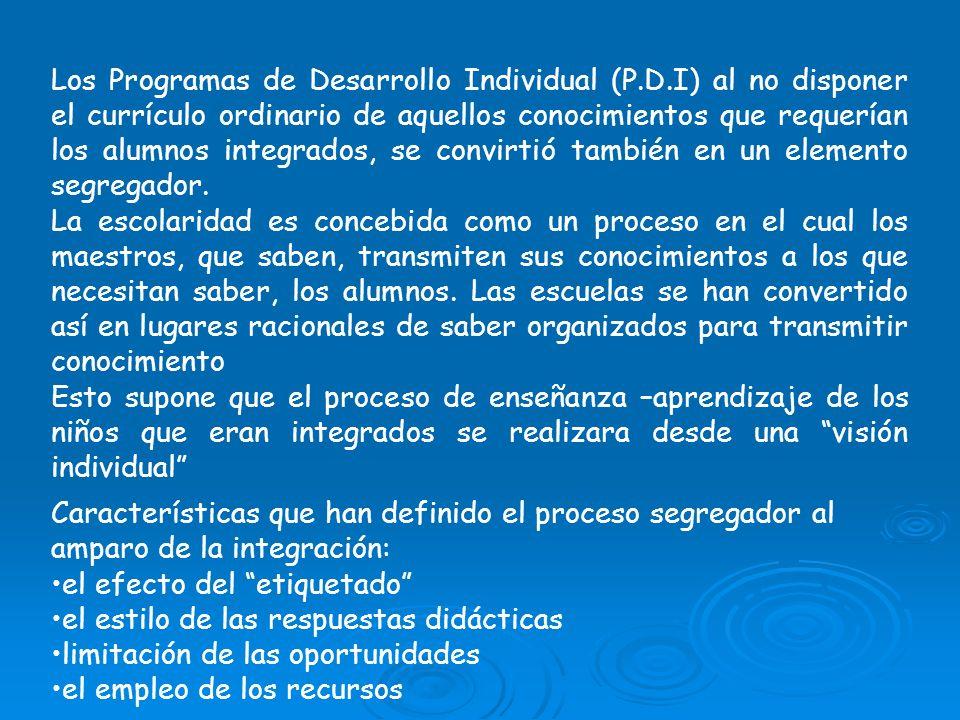 Los Programas de Desarrollo Individual (P.D.I) al no disponer el currículo ordinario de aquellos conocimientos que requerían los alumnos integrados, s