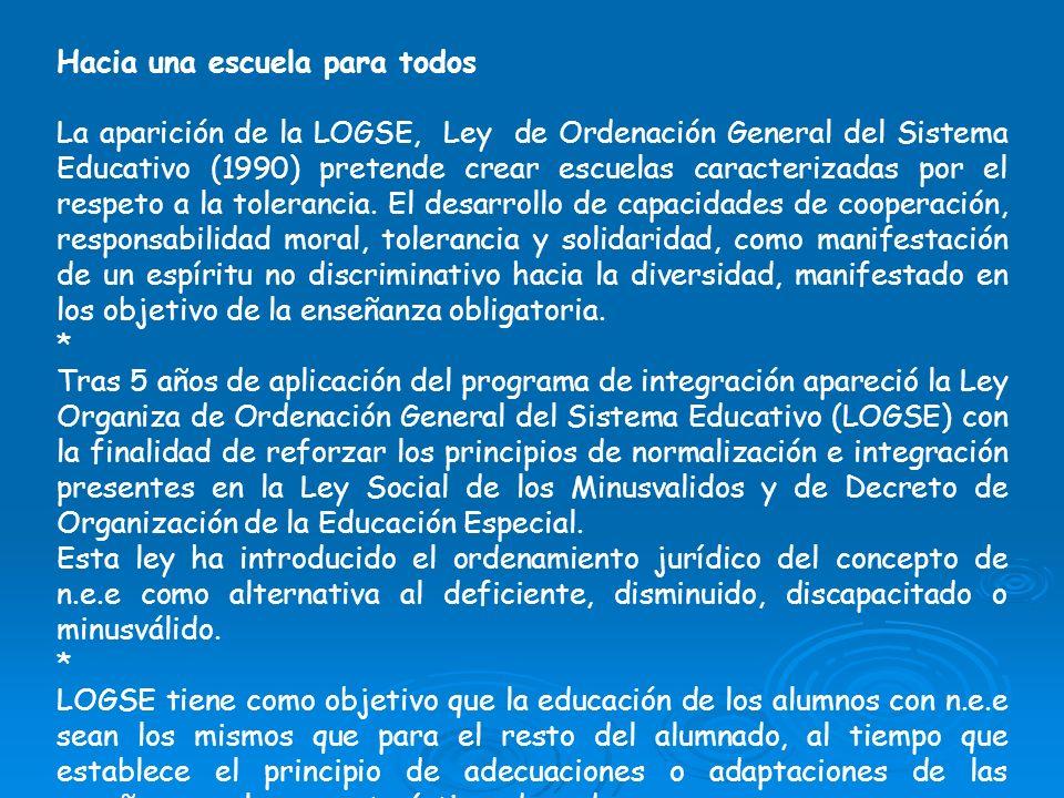 Hacia una escuela para todos La aparición de la LOGSE, Ley de Ordenación General del Sistema Educativo (1990) pretende crear escuelas caracterizadas p