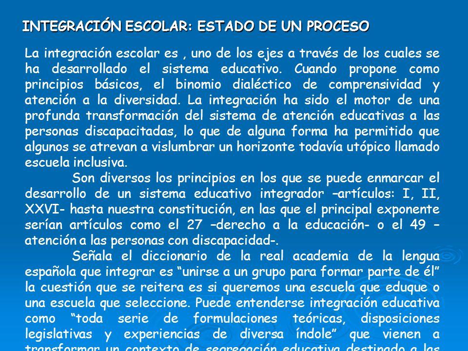 INTEGRACIÓN ESCOLAR: ESTADO DE UN PROCESO La integración escolar es, uno de los ejes a través de los cuales se ha desarrollado el sistema educativo. C