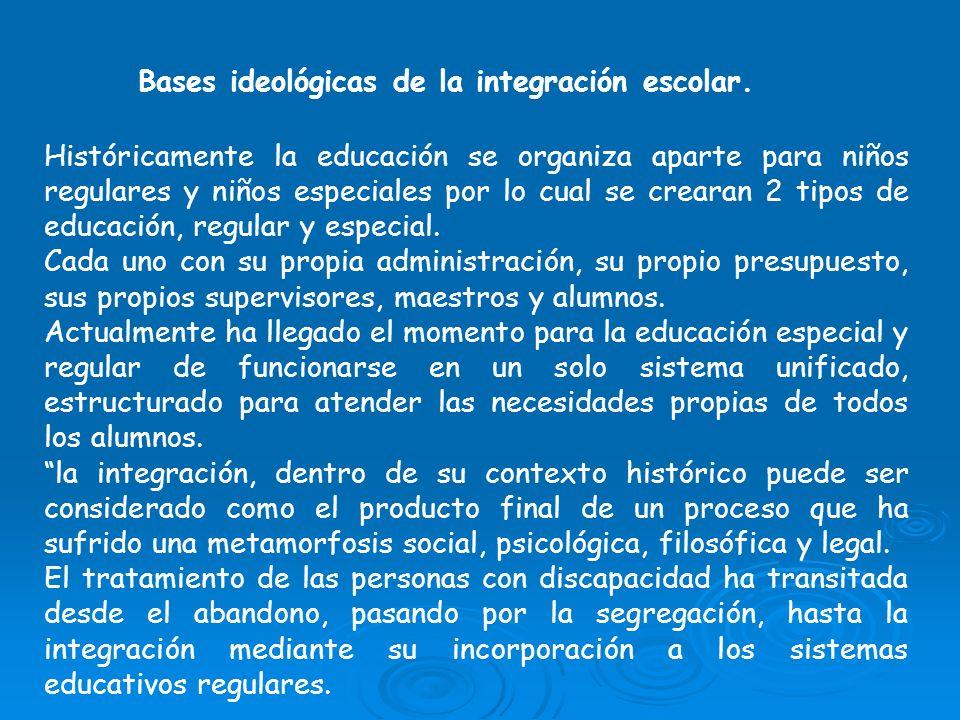 Bases ideológicas de la integración escolar. Históricamente la educación se organiza aparte para niños regulares y niños especiales por lo cual se cre