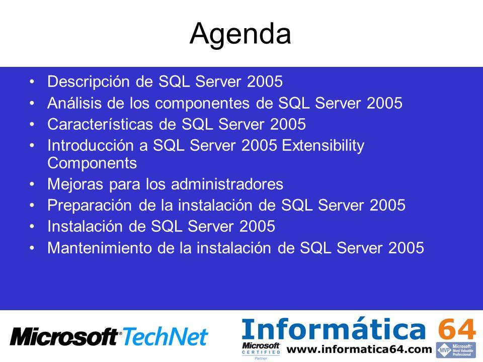 Agenda Descripción de SQL Server 2005 Análisis de los componentes de SQL Server 2005 Características de SQL Server 2005 Introducción a SQL Server 2005 Extensibility Components Mejoras para los administradores Preparación de la instalación de SQL Server 2005 Instalación de SQL Server 2005 Mantenimiento de la instalación de SQL Server 2005