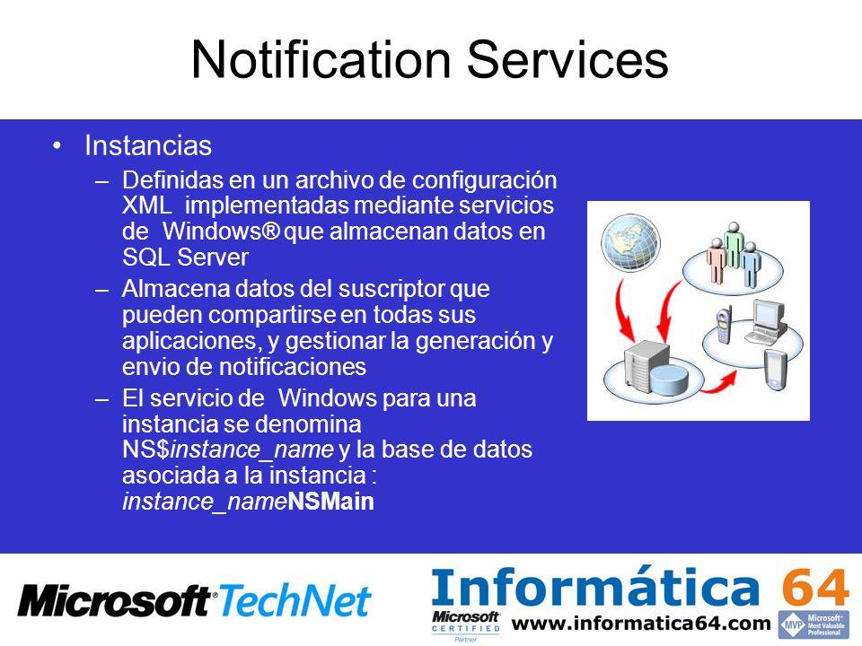 Notification Services Instancias –Definidas en un archivo de configuración XML implementadas mediante servicios de Windows® que almacenan datos en SQL