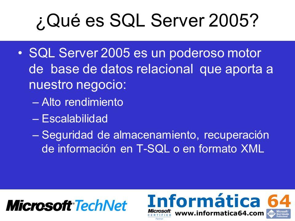 SQL Server 7.0 SQL Server 2005 SQL Server 2000 TCO más bajo Ajuste automático Fiabilidad y seguridad Inteligencia de Negocio integrada Foco en la disponibilidad Seguridad Productividad del desarrollador XML Nativo Primero en incluir ETL corporativo y Data Mining intensivo Foco en el rendimiento y la escalabilidad Soporte para XML Primero en incluir Notification Primero en incluir Data Mining y Reporting Re-arquitectura de servidor relacional Administración automática avanzada de recursos Primero en incluir OLAP y ETL Objetivos comunes a todas las versiones SQL Server 6.0/6.5 Diferenciación de Sybase SQL Server Integración con Windows El primero en incluir replicación de datos 1 ª Generación2 ª Generación3 ª Generación Evolución