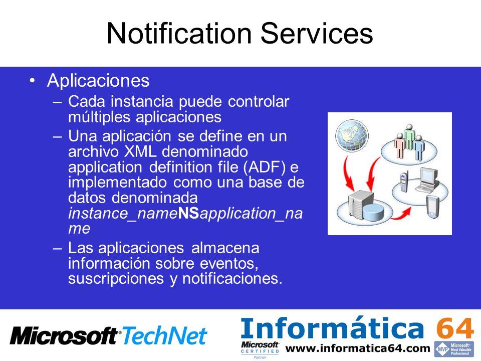 Notification Services Aplicaciones –Cada instancia puede controlar múltiples aplicaciones –Una aplicación se define en un archivo XML denominado appli